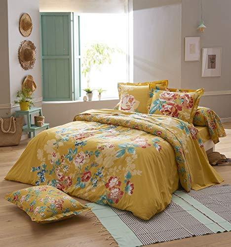 Bettbezug Obsession Safran Baumwolle Blumenmuster 260x240 ~ Tradilinge
