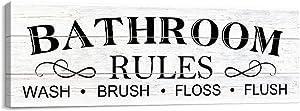 Kas Home Bathroom Canvas Wall Art Decor Rustic Vintage Bath Painting Signs Framed Bathroom Toilet Laundry Room Decor (5.5 X 16.5 inch, White - Bathroom)