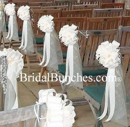 Amazon Com White Tulle White Satin Wedding Pew Bows Church