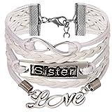 JewelryWe Schmuck Freundschaft Armband, Vintage Love Sister Infinity Unendlichkeit Zeichen Leder Legierung Seil Charm Armreif Wickelarmband, Weiß Silber