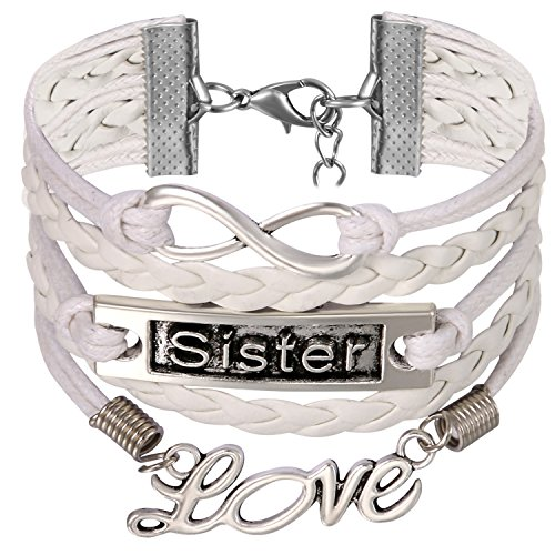 JewelryWe JewelryWe Vriendschapsarmband, vintage liefde Sister Infinity oneindigheidsteken legering touw charm armband wikkelarmband, wit zilver