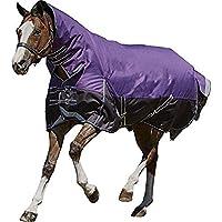 (ウェザビータ) Weatherbeeta 馬用 Comfitec Plus ミディアム/ライト ダイナミックコンボ ネックラグ 馬着 乗馬 ホースライディング (4 フィート 6, パープル/ブラック)