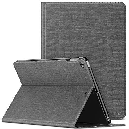 INFILAND Hülle für iPad 9,7 2018/2017, (6. Generation/ 5. Generation), iPad Air/Air 2, Slim Halten Sie vorne Schutzhülle hülle mit Auto Schlaf/Wach Funktion,Grau