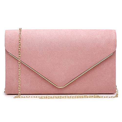 Dasein Women's Evening Clutch Bags Formal Party Clutches Wedding Purses Cocktail Prom Clutches (Pink)