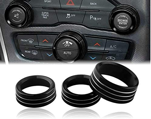 Challenger Charger Control Knob Covers Custom Fit Volume AC Radio Switch Button Decal Trim Rings product image