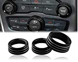 Custom Fit Control Knob Covers,Volume AC Radio Switch Button Decal Trim Rings Set of 3 - Compatible with Dodge Models (inc.2015+ Challenger/Charger,Chrysler 300/Chrysler 300s) - Black