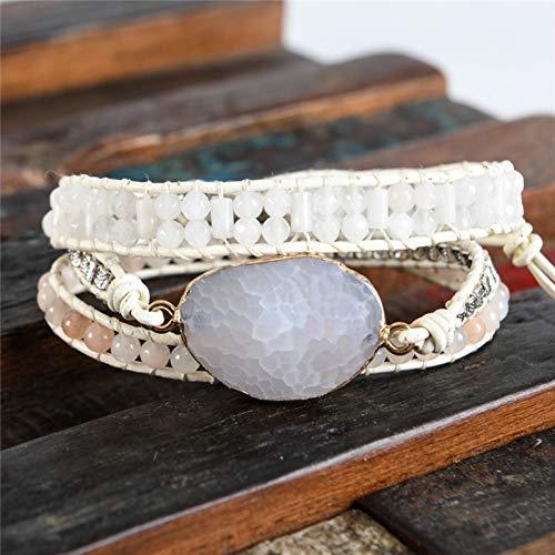 XBSZK Armband van leer vintage van natuursteen 3 rijen wikkelarmbanden voor heren en dames Boho multilaags Fatto Hand