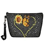 Goyentu Sunflower Butterfly Small Makeup Bags for Women Adorable Roomy Makeup Bags Travel Waterproof Toiletry Bag Accessories Organizer