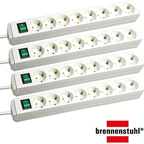 Brennenstuhl Eco-Line Steckdosenleiste mit Schalter 8-Fach 3m (Sparpack | weiß)