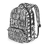 Alfabeto Ingles Negro Blanco Mochilas Escolar Impermeable Mochila Escolares Bolso con Mensajero para Estudiante Niñas Niños