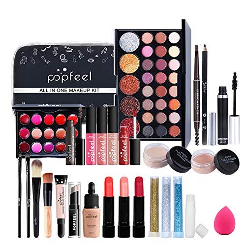 BrilliantDay 26 Stück Mehrzweck Make-up-Set All-in-One Make-up-Geschenkset Kosmetik-Palette Starter Kit Lipgloss Blush Brush Lidschatten-Palette Hochpigmentierte Für Frauen Mädchen