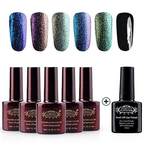 Perfect Summer Gel Nail Polish Chameleon Colors UV LED Soak Off Nail Lacquers, 5PCS Chameloen Colors + 1PCS Black Color, 10ml Each (Set #01)