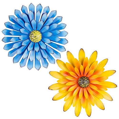 """Metal Flower Wall Decor; 12"""" Yellow And Blue Rustic Flowers For Farmhouse Wall Decor; 3D Flower Wall Mount For Bathroom, Living Room, Bed Room, Garden - Indoor Outdoor Use; 2 PACK"""
