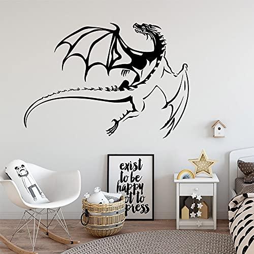 Etiqueta engomada de la pared de la familia del dragón volador creativo mural artista decoración del hogar vinilo extraíble adhesivo de fondo Mural 57x81cm