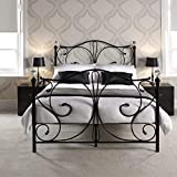 ZXL Bed Frame,<span class='highlight'><span class='highlight'>ColorJoy</span></span> Metal Bed Frame (Delivery time is 3-5 days) Double Iron Bed King Size White 4FT6 for 2 Person Featuring Crystal Finial Solid Bedstead Base Vintage Headboard and Footboard