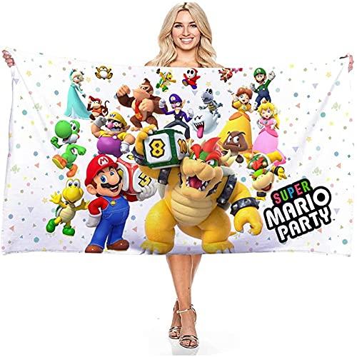 Super Mario Bros - Toalla de playa con dibujos animados en 3D, suave y esponjosa, ideal para viajes deportivos, natación, camping (006,70 x 140 cm)