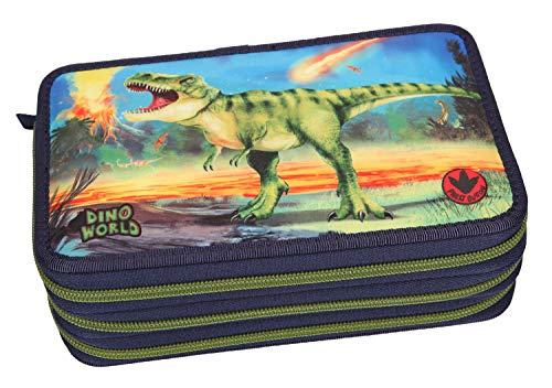 Depesche 10249 - Federtasche 3 fach, Dino World, mit LED