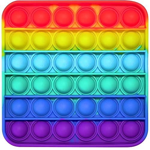 Pop it Fidget Toy | Juguete Antiestrés de Burbujas de Silicona para Niños y Adultos, Juego Relajante, Sensorial y Educativo, Alivia Estrés y Ansiedad, Push Pop Bubble Arcoíris Multicolor (Cuadrado)
