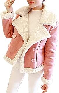 Faux Fur Fleece Zip Jacket Plus Size Women Lapel Biker Motor Aviator Coat