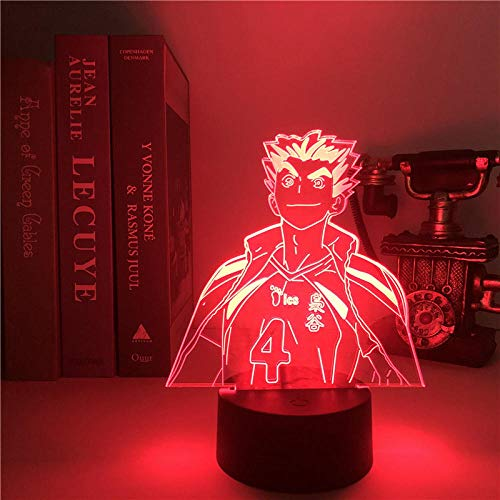 3D Led Lamps Night Light for Kids 3D Lamp Haikyuu Japanese Anime Akaashi Keiji Unique Anime Light Ling Stalking Kid Atmosphere Night Anime Lights-16 Colors Remote