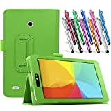 LG G Pad 7.0 Leather Case, TDA(TM) Slim Folding PU Leather Cover Case with Auto Sleep/Wake Feature for LG G Pad V400/V410 (LTE)/VK410 /UK410/LK430 (G Pad F7.0) 7 Inch Tablet With 1 Stylus Pen (Green)