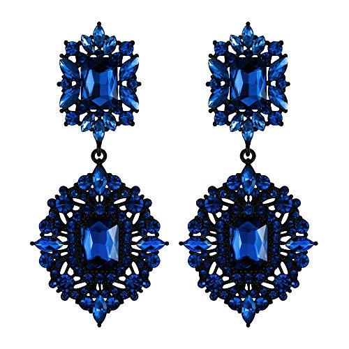 EVER FAITH Clip-on Earrings Art Deco Vintage Style Gatsby Dangle Chandelier for Women Girls Navy Blue