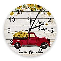 Wooden Round Wall Clock 12'' Silent Battery Operated Non Ticking Clock, Red Pickup Truck Full of Sunflowers on The Retro Wood Board Noiseless Office Kitchen Bedroom Wall Clock Home Decor