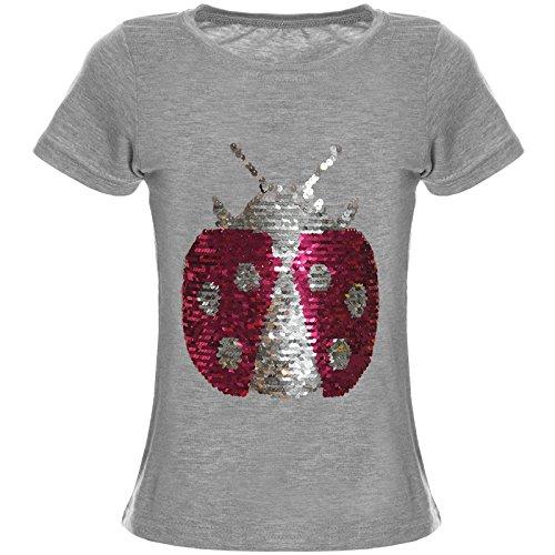 BEZLIT Mädchen Wende-Pailletten T-Shirt Bluse Kurzarm Shirt 21356 Grau Größe 152