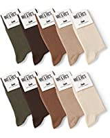 Mens Socks (10 Pair Pack) by Mat & Vic's Cotton Classic Comfortable Breathable (UK 9-11 / EU 43-46, Earth Colours - Brown)