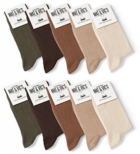 10 Paar Socken von Mat & Vic's für Sie und Ihn - Cotton classic bequem ohne drückende Naht - angenehmer Komfort-Bund - OEKO-TEX Standard 100 (47-50, Earth Colors) 47-50