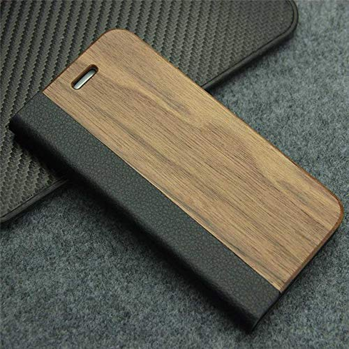 SCBJBZ Funda de Cuero Retro para Samsung Galaxy S8 S7 Edge S9 Plus Funda de teléfono de Madera Real Natural con Soporte para iPhone 7 8 Plus para Samsung S7 Edge Nogal