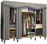 Armario Guardarropa de tela simple, vestidor grande portátil plegable plegable ropa de almacenamiento de vestidor, cortina de puerta Tipo de cortina abierta con vara colgante, armarios de dormitorio m
