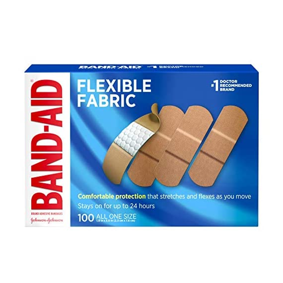 Johnson & Johnson Band-Aid Brand Flexible Fabric Adhesive Bandages for Wound Care and First Aid, All One Size, 100 Count… 1 100-count Band-Aid Brand Flexible Fabric Adhesive Bandages for first aid and wound protection of minor wounds, cuts, scrapes and burns Made with Memory-Weave fabric for comfort and flexibility, these bandages stretch, bend, and flex with your skin as you move, and include a Quilt-Aid comfort pad designed to cushion painful wounds which may help prevent reinjury These Band-Aid Brand Flexible Fabric adhesive bandages stay on for up to 24 hours and feature a unique Hurt-Free Pad that won't stick to the wound as they wick away blood and fluids, allowing for gentle removal