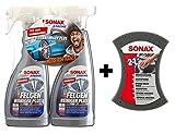 SONAX XTREME 2x 750ml Felgenreiniger Plus + Multischwamm Set