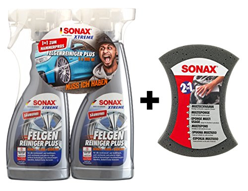 SONAX XTREME 2x 750ml Felgenreiniger Plus + Multischwamm Set