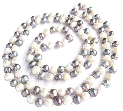 Blanco y negro Natural de la perla de agua dulce cultivado multicolor de 120 cm 119,38 cm largo collar doble cuerda de regalo