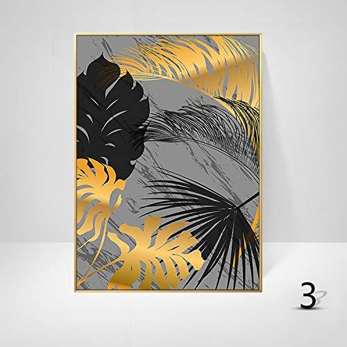 WSNDGWS Sofa achtergrond wanddecoratie schilderij licht eenvoudige plant gouden bladkunst schilderij kern zonder fotolijst 50x70cm C5
