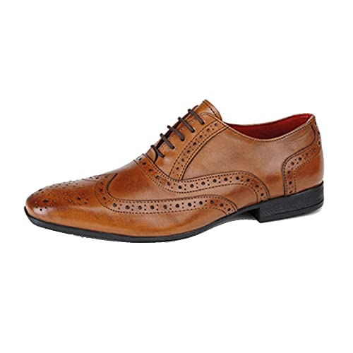 Route 21 Mens Leather Brogue Oxford Shoe