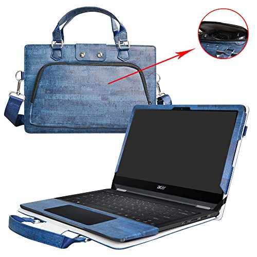 Spin 7 Case,2 in 1 Accurately Designed Protective PU Leather Cover + Portable Carrying Bag For 14' Acer Spin 7 SP714-51 series Laptop,Blue