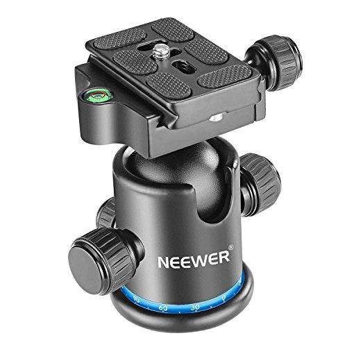 """Neewer testa panoramica per treppiede con rotazione a 360gradi su sfera e piastra per slitta da 1 4"""" a innesto rapido, livella a bolla per treppiede, monopiede, fotocamera DSLR (nero + blu)"""