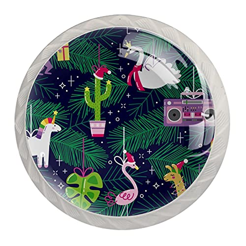 4 pomos de cristal con forma de unicornio de flamenco, 4 unidades, con tornillos, para armario, hogar, oficina, armario