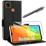 AROYI Cover Compatibile con Xiaomi Redmi 9C Nero+HD Pellicola Protettiva,Custodia Flip...