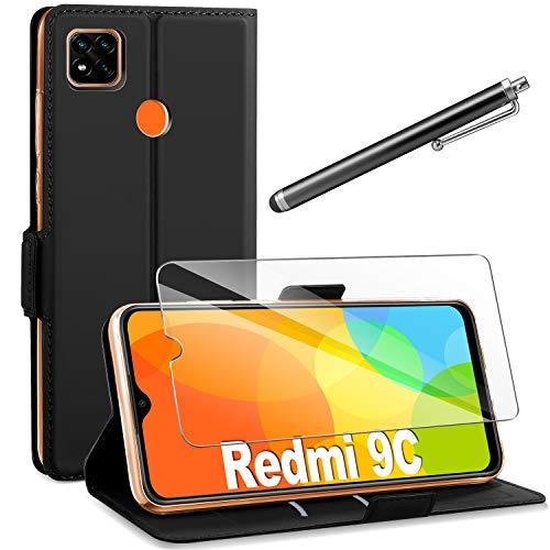 AROYI Coque Compatible avec Xiaomi Redmi 9C+Protection Écran,360 Degres Protection Xiaomi Redmi 9C Étui Housse Cuir TPU Silicone Flip Cover Portefeuille Bookstyle Magnétique,Noir