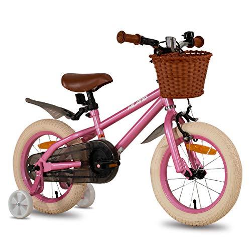 HILAND ins Star 14 Zoll Kinderfahrrad |für Mädchen Jungen 3-7 Jahre mit Stützräder, Handbremse und Rücktritt rosa