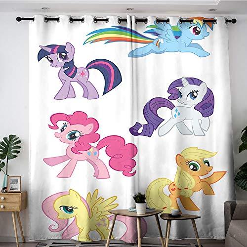 Sdustin My Little Pony - Cortinas de salón (140 x 183 cm), diseño de cómics, para dormitorio, sala de estar, aislamiento térmico, 2 paneles (tela de poliéster)