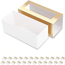 BAKIPACK 25 Macaron Boxes for 4 or 5 Macarons Gold Macaron Gift Boxes,Candy Gift Boxes, Macarons Box with Clear Window (In...