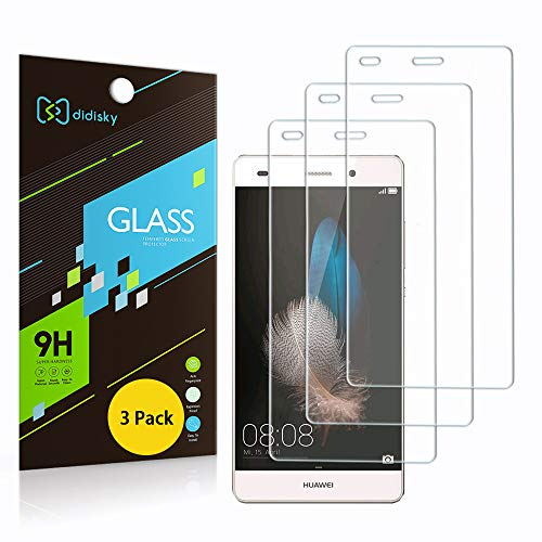 Didisky Pellicola Protettiva in Vetro Temperato per Huawei P8 Lite, [ 3 Pezzi ] Tocco Morbido Facile da Pulire, 9H (Non per P8 Lite 2017 And P8 Lite Smart)