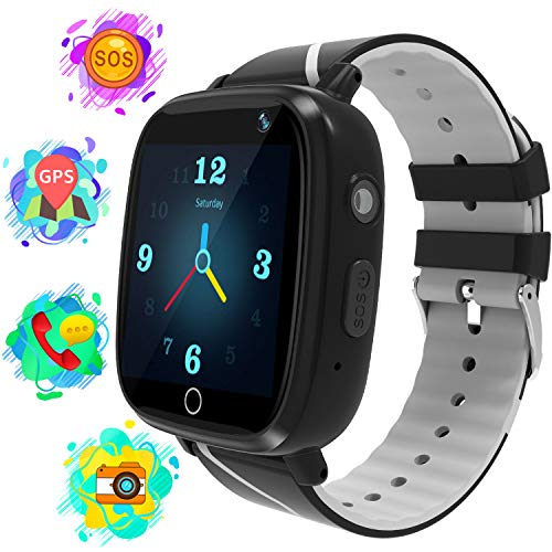 Karaforna Smart Watch for Boys Girls Kids Smartwatch with GPS Tracker Call Camera Game Alarm Clock SOS Voice Chat Flashlight Touch Screen Phone Wrist Watch Gifts for Children 4-12 Years (Grey)