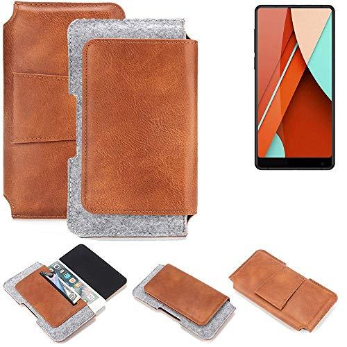 K-S-Trade® Schutz Hülle Für Bluboo D5 Pro Gürteltasche Gürtel Tasche Schutzhülle Handy Smartphone Tasche Handyhülle PU + Filz, Braun (1x)