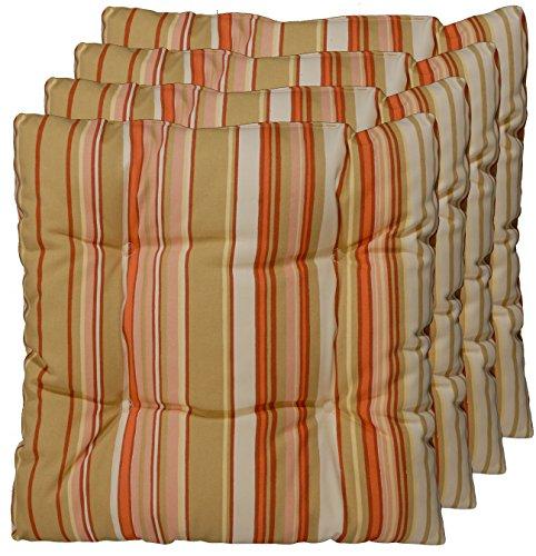 korb.outlet 4er Set Sitz-Kissen aus Deutscher Herstellung, Stuhl-Polster Apricot, Rost, Beige 40x40 cm